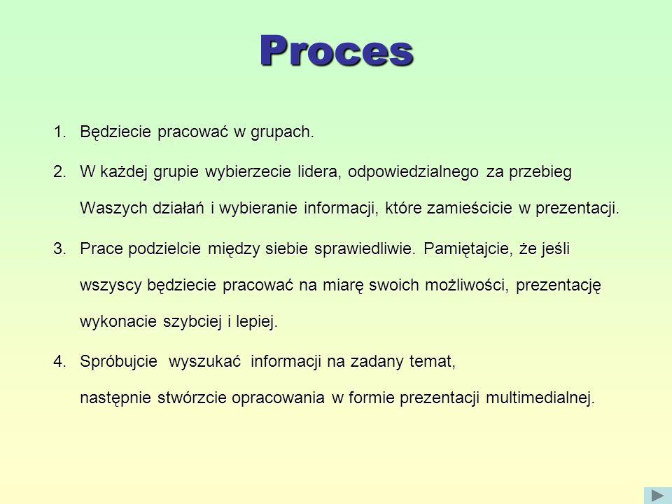 Proces Będziecie pracować w grupach.
