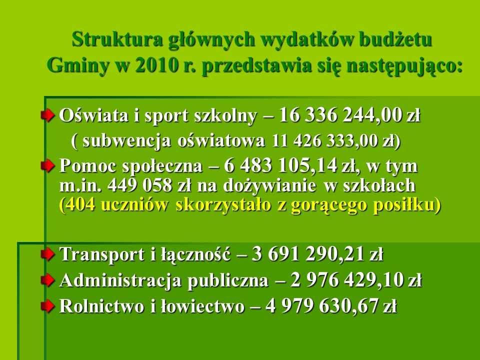 Struktura głównych wydatków budżetu