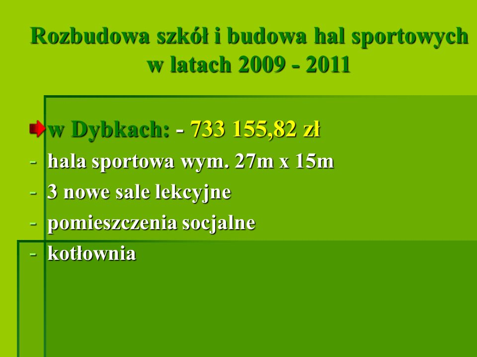 Rozbudowa szkół i budowa hal sportowych w latach 2009 - 2011