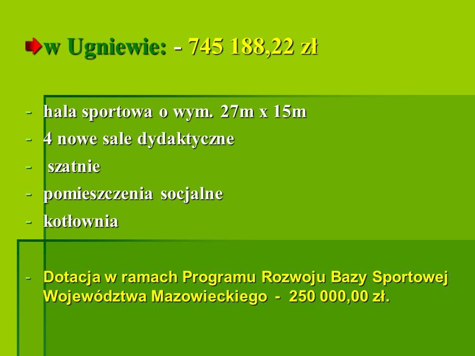 w Ugniewie: - 745 188,22 zł hala sportowa o wym. 27m x 15m