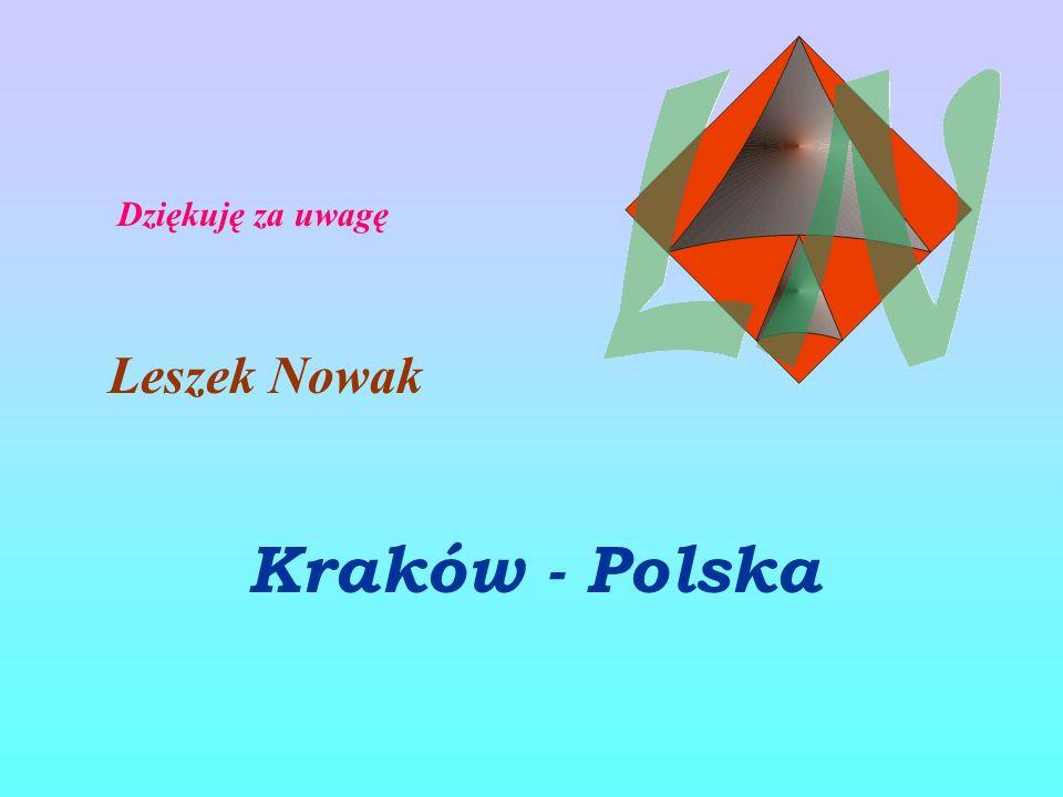 Dziękuję za uwagę Leszek Nowak Kraków - Polska