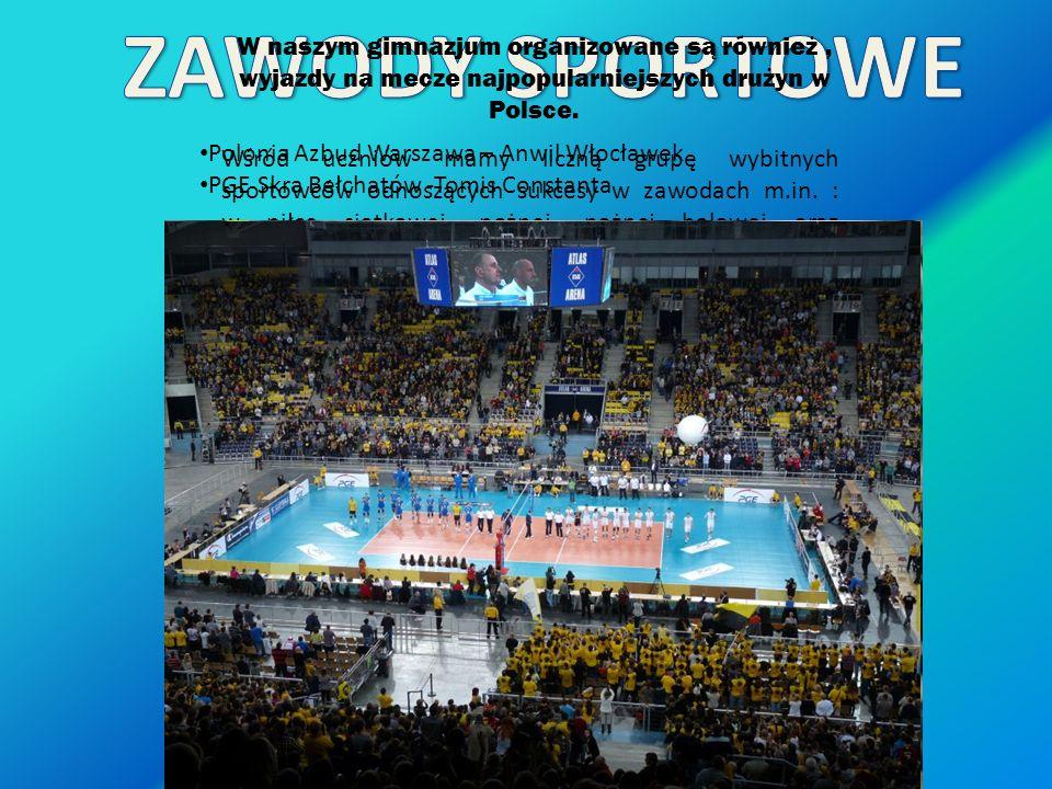 ZAWODY SPORTOWE W naszym gimnazjum organizowane są również , wyjazdy na mecze najpopularniejszych drużyn w Polsce.