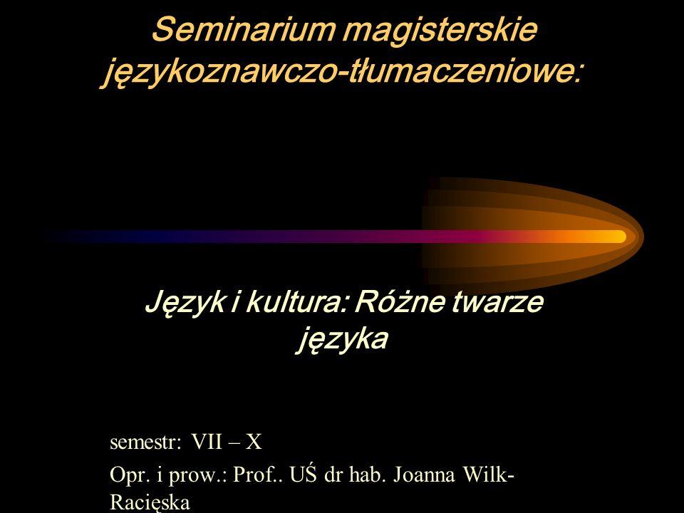 Seminarium magisterskie językoznawczo-tłumaczeniowe: