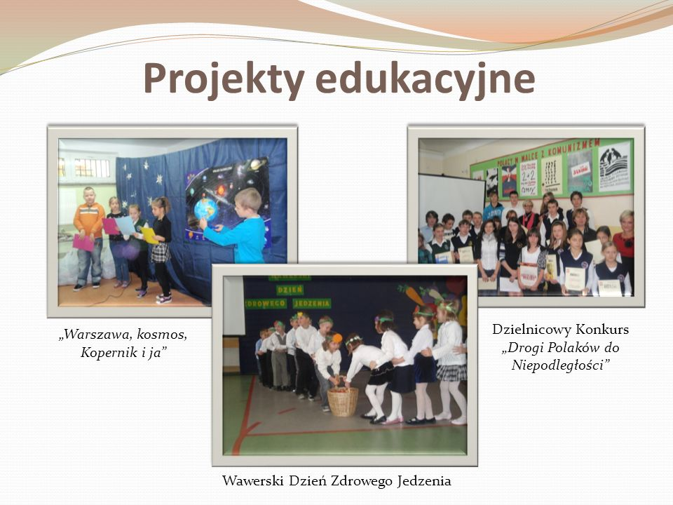 """Projekty edukacyjne Dzielnicowy Konkurs """"Drogi Polaków do Niepodległości """"Warszawa, kosmos, Kopernik i ja"""