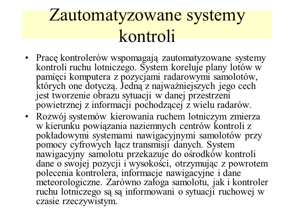 Zautomatyzowane systemy kontroli