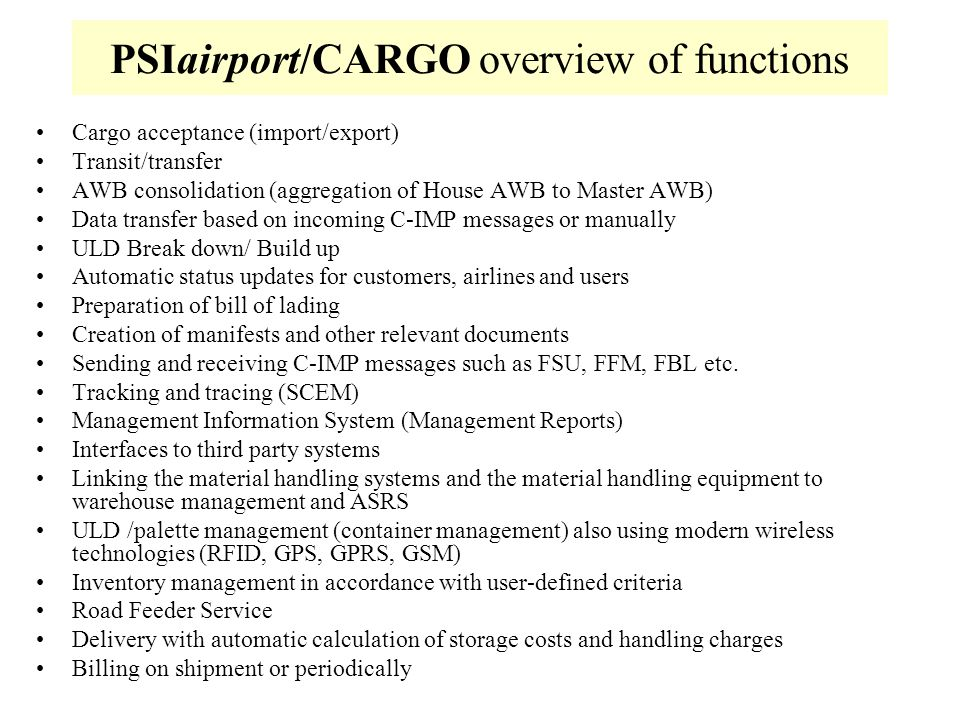 PSIairport/CARGO overview of functions