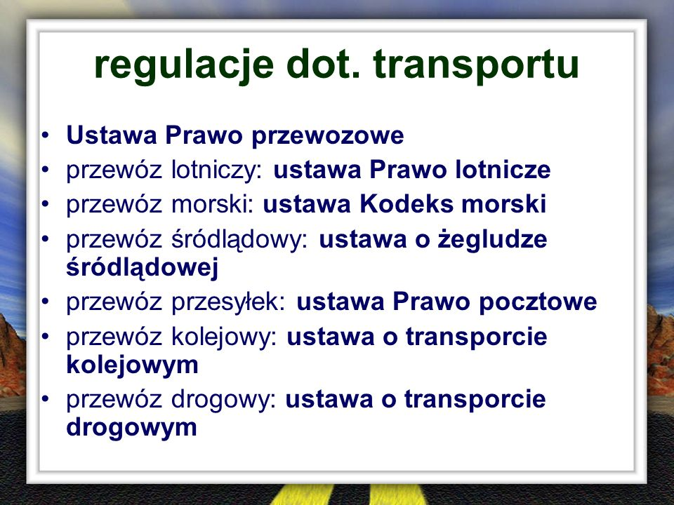 regulacje dot. transportu