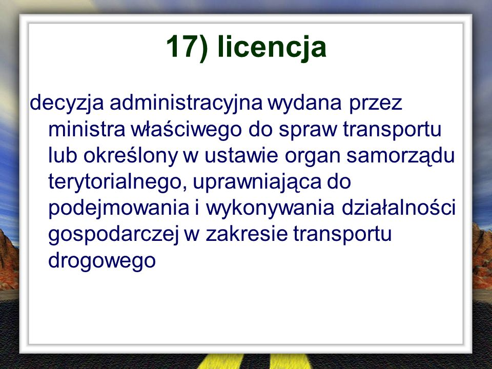 17) licencja