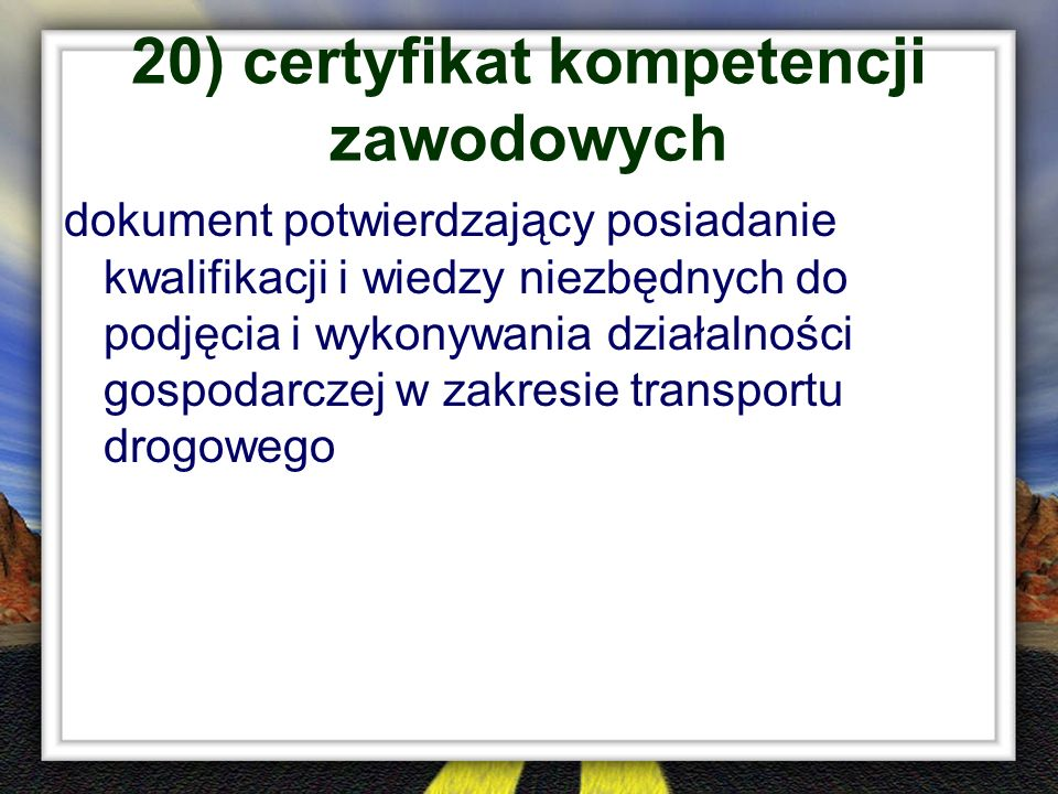 20) certyfikat kompetencji zawodowych