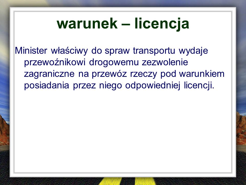 warunek – licencja