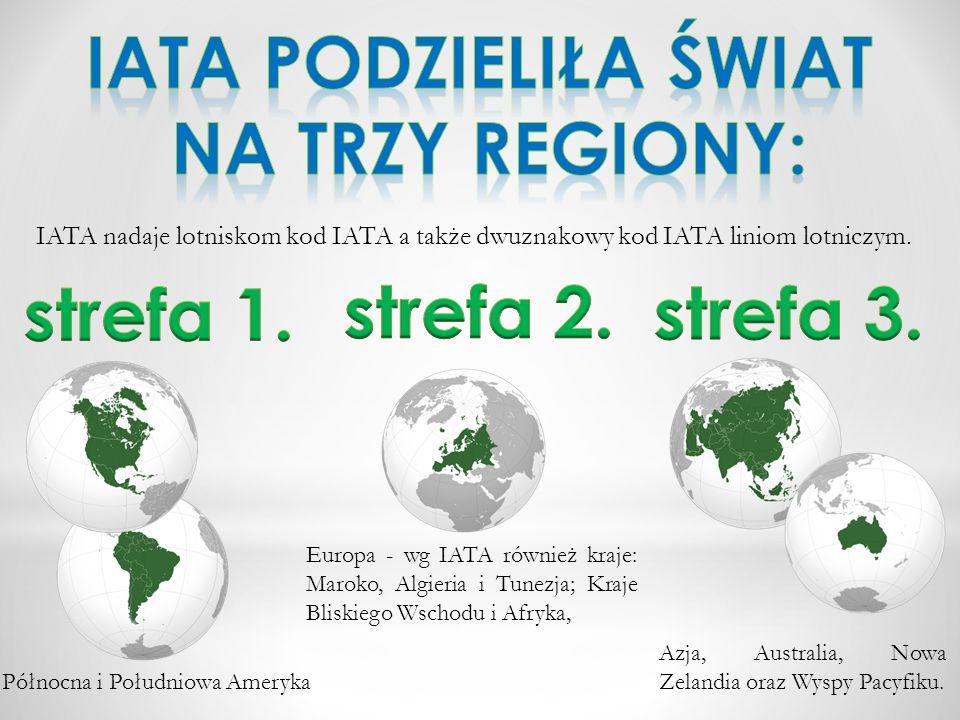 IATA podzieliła świat na trzy regiony: strefa 1. strefa 2. strefa 3.