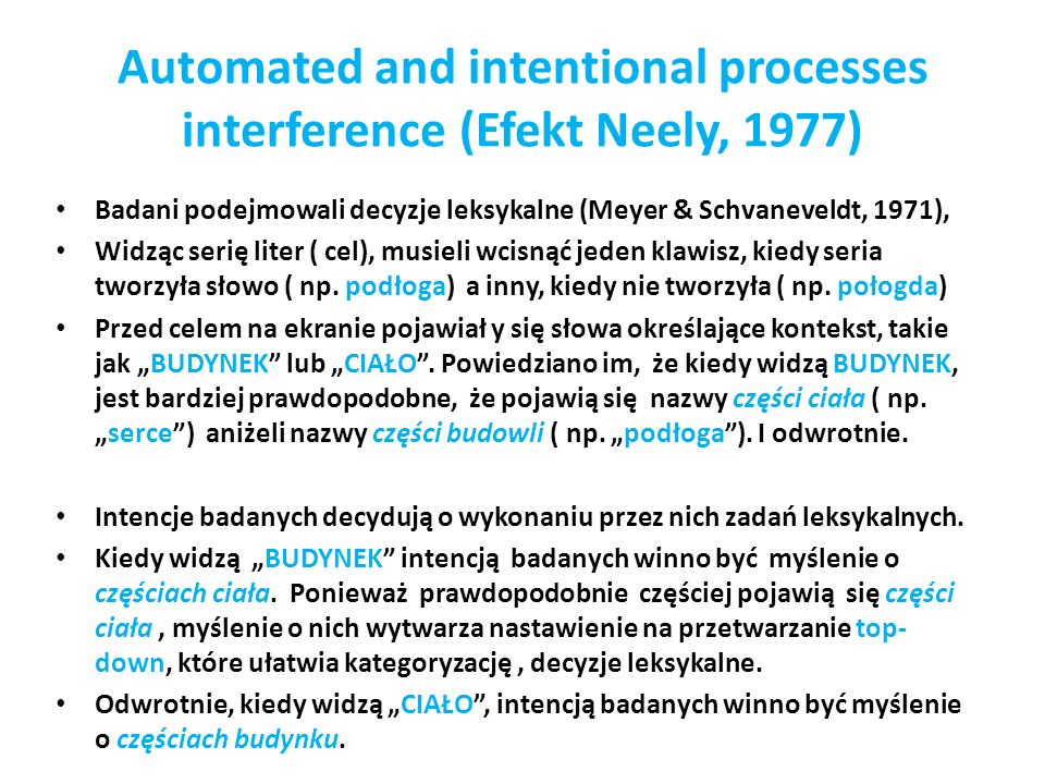 Automated and intentional processes interference (Efekt Neely, 1977)