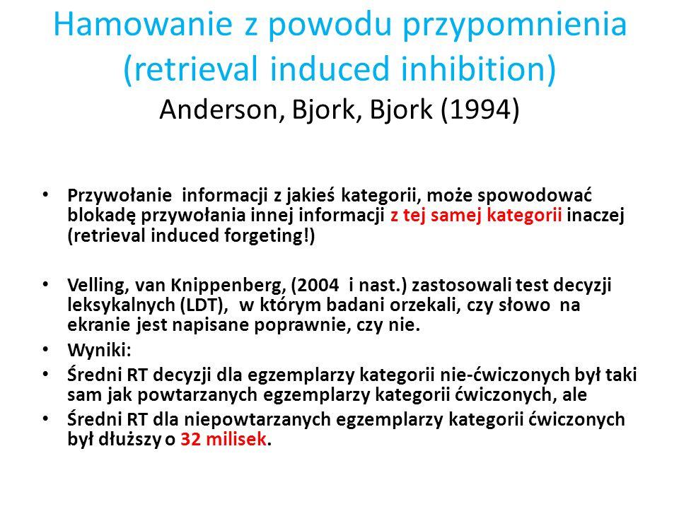 Hamowanie z powodu przypomnienia (retrieval induced inhibition) Anderson, Bjork, Bjork (1994)