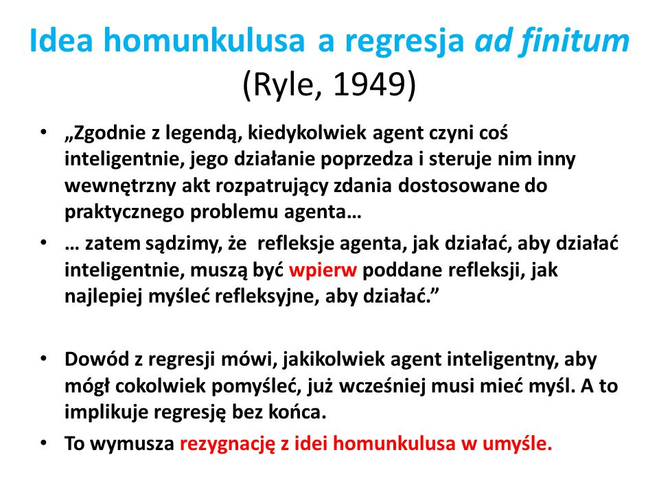 Idea homunkulusa a regresja ad finitum (Ryle, 1949)