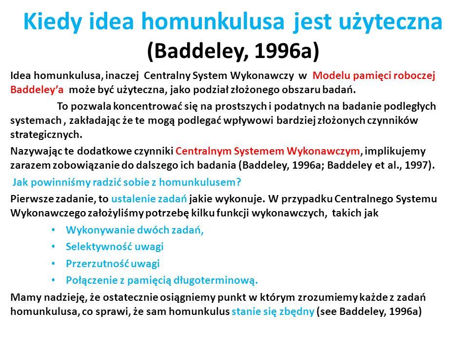 Kiedy idea homunkulusa jest użyteczna (Baddeley, 1996a)