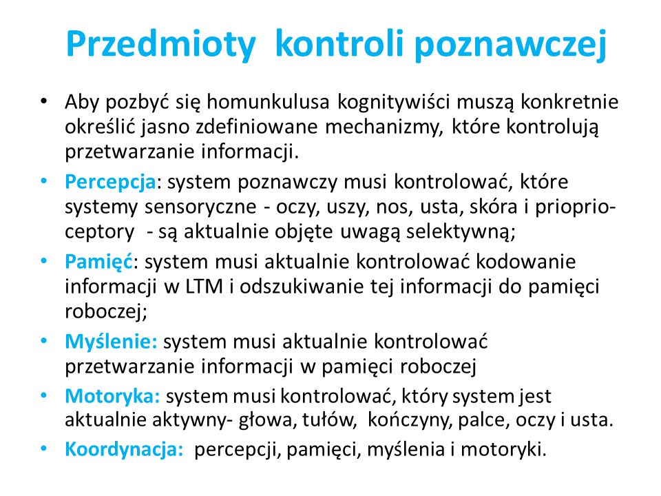 Przedmioty kontroli poznawczej