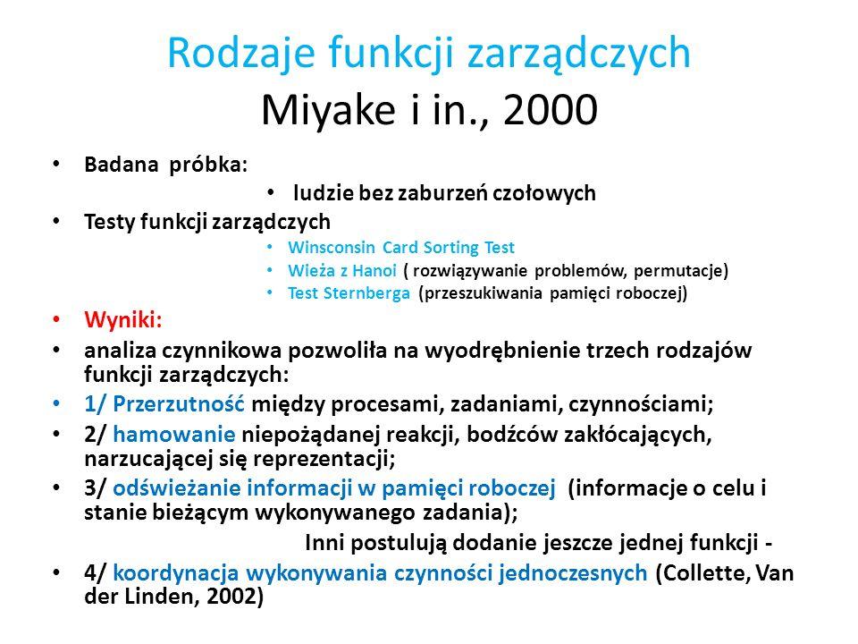 Rodzaje funkcji zarządczych Miyake i in., 2000