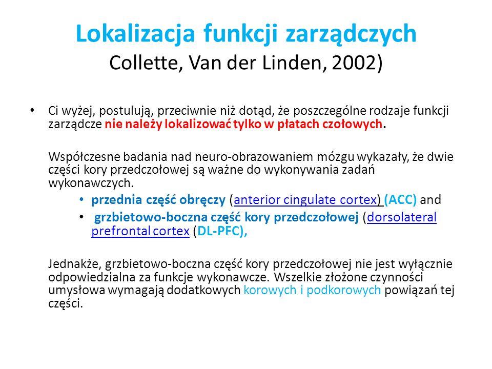 Lokalizacja funkcji zarządczych Collette, Van der Linden, 2002)