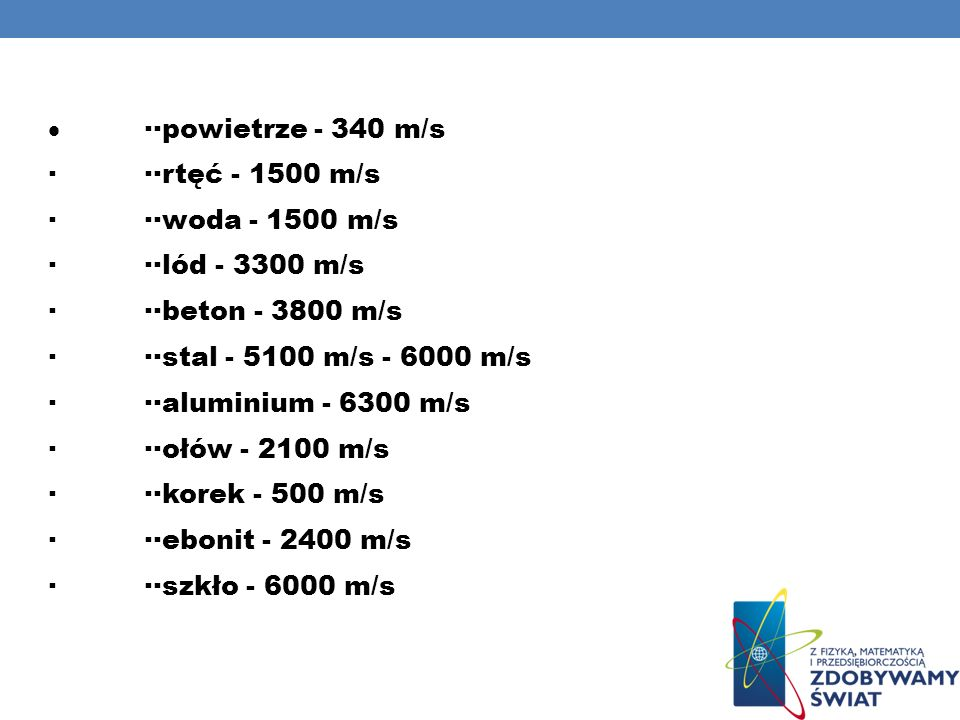 · ··powietrze - 340 m/s · ··rtęć - 1500 m/s. · ··woda - 1500 m/s. · ··lód - 3300 m/s. · ··beton - 3800 m/s.