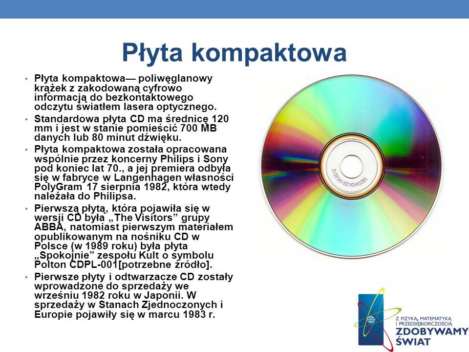 Płyta kompaktowa Płyta kompaktowa— poliwęglanowy krążek z zakodowaną cyfrowo informacją do bezkontaktowego odczytu światłem lasera optycznego.