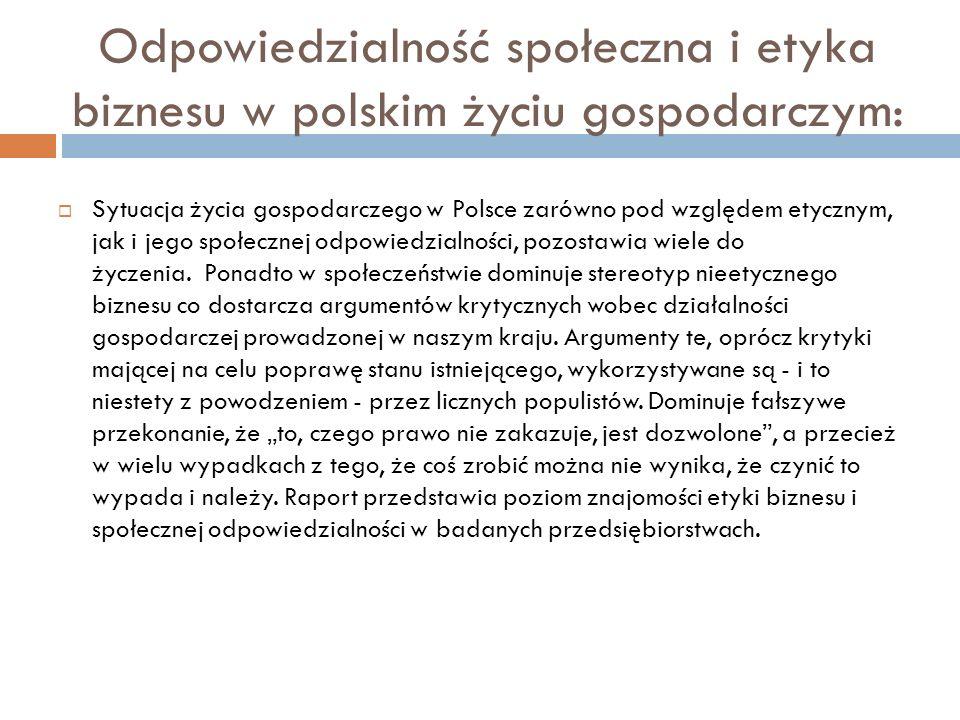 Odpowiedzialność społeczna i etyka biznesu w polskim życiu gospodarczym: