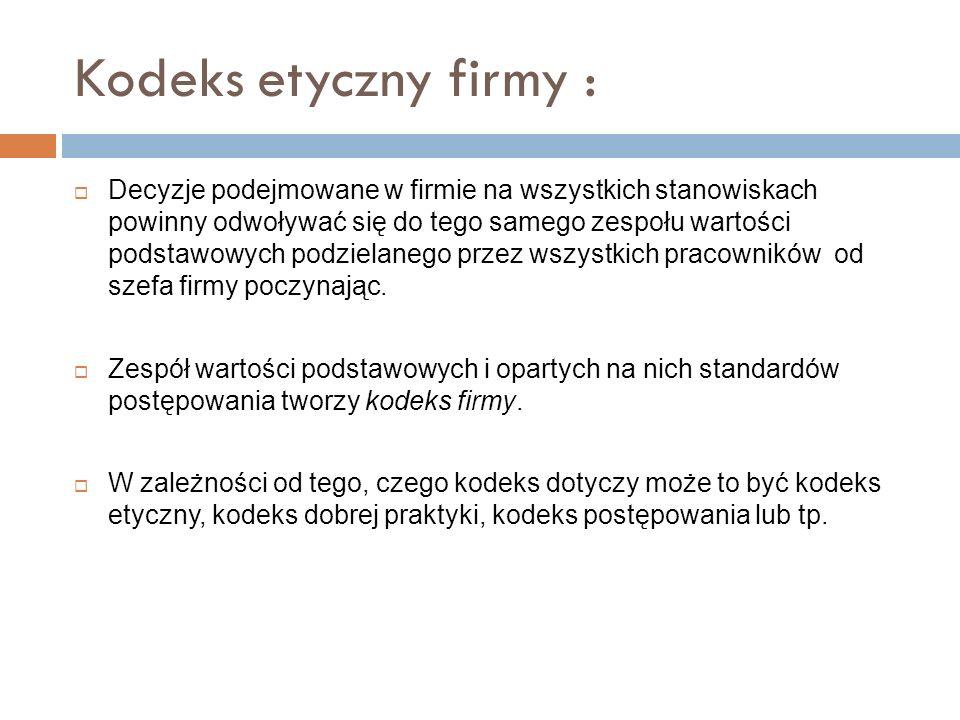 Kodeks etyczny firmy :
