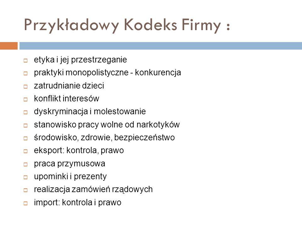 Przykładowy Kodeks Firmy :