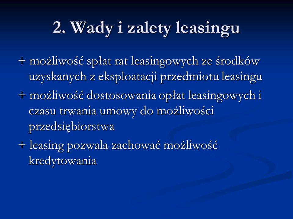 2. Wady i zalety leasingu + możliwość spłat rat leasingowych ze środków uzyskanych z eksploatacji przedmiotu leasingu.
