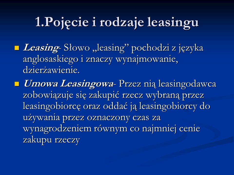 1.Pojęcie i rodzaje leasingu