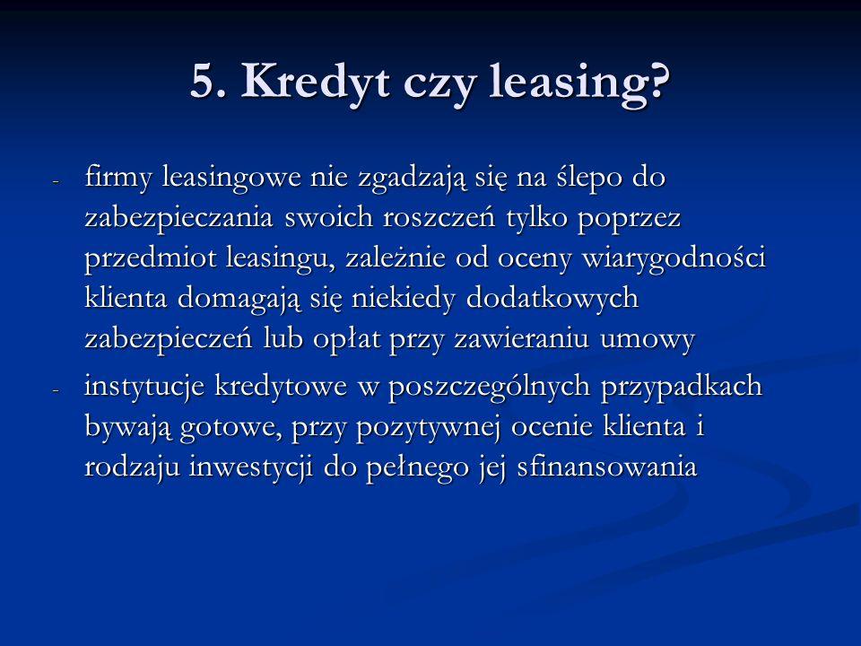 5. Kredyt czy leasing