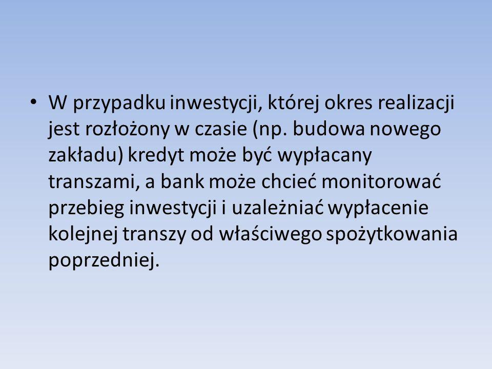 W przypadku inwestycji, której okres realizacji jest rozłożony w czasie (np.