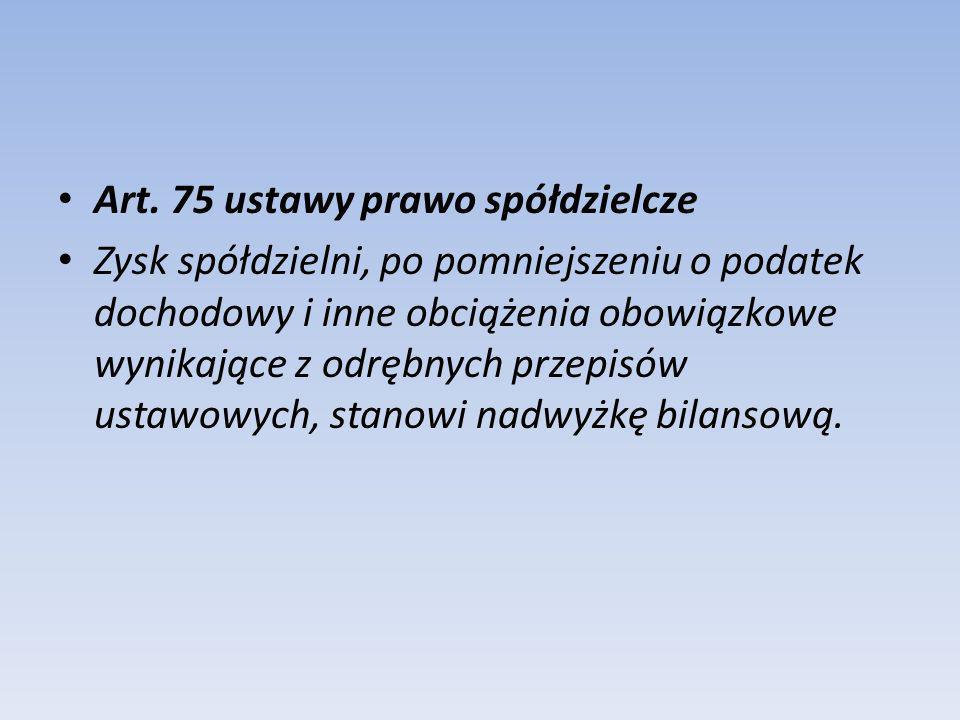 Art. 75 ustawy prawo spółdzielcze