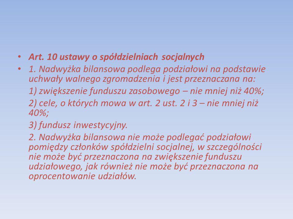 Art. 10 ustawy o spółdzielniach socjalnych