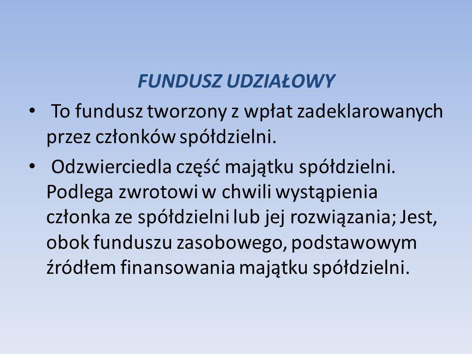 FUNDUSZ UDZIAŁOWY To fundusz tworzony z wpłat zadeklarowanych przez członków spółdzielni.