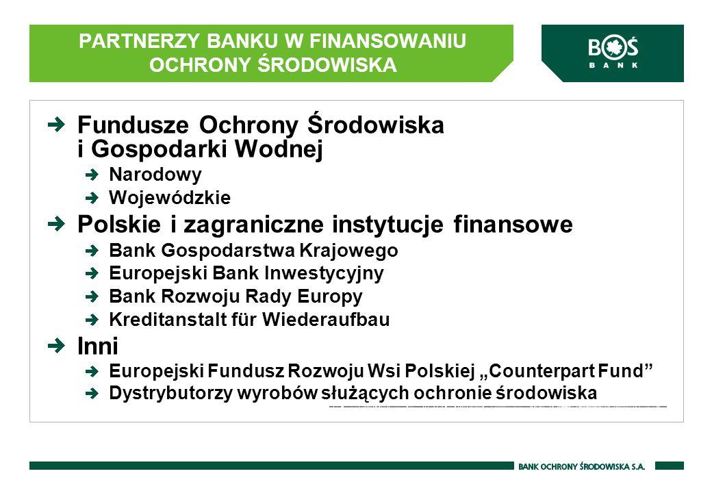 PARTNERZY BANKU W FINANSOWANIU OCHRONY ŚRODOWISKA