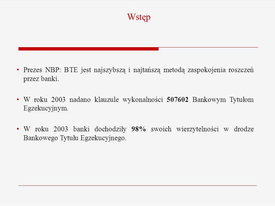 WstępPrezes NBP: BTE jest najszybszą i najtańszą metodą zaspokojenia roszczeń przez banki.