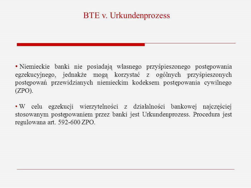BTE v. Urkundenprozess