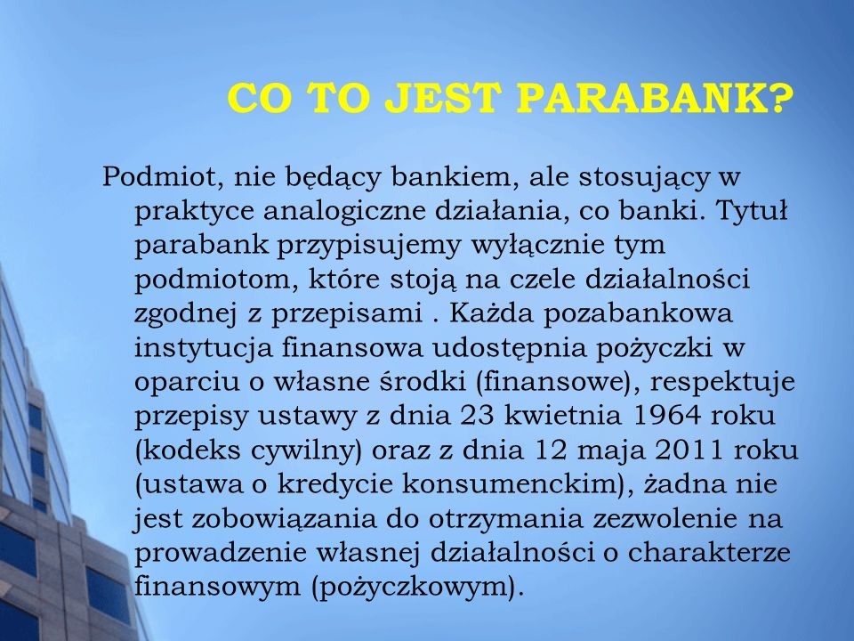 CO TO JEST PARABANK