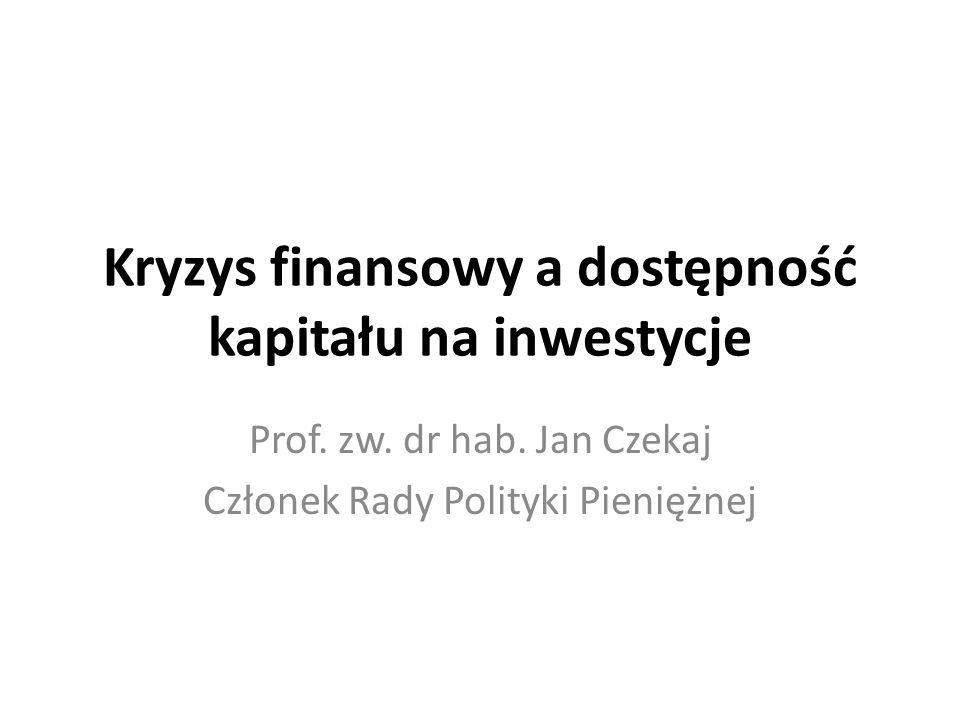 Kryzys finansowy a dostępność kapitału na inwestycje