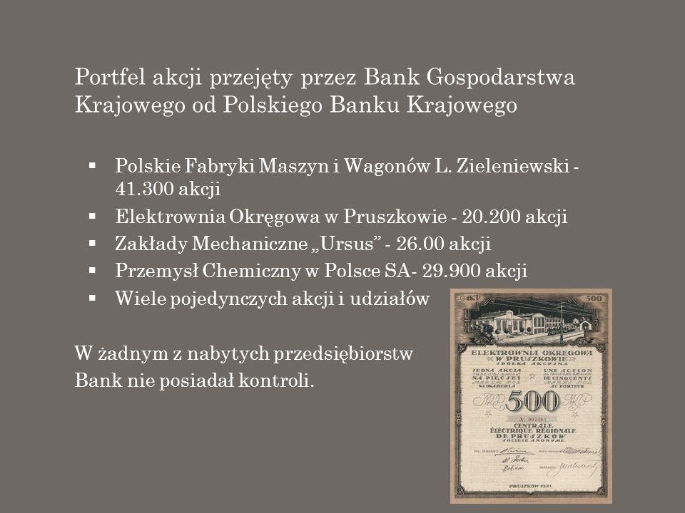 Portfel akcji przejęty przez Bank Gospodarstwa Krajowego od Polskiego Banku Krajowego
