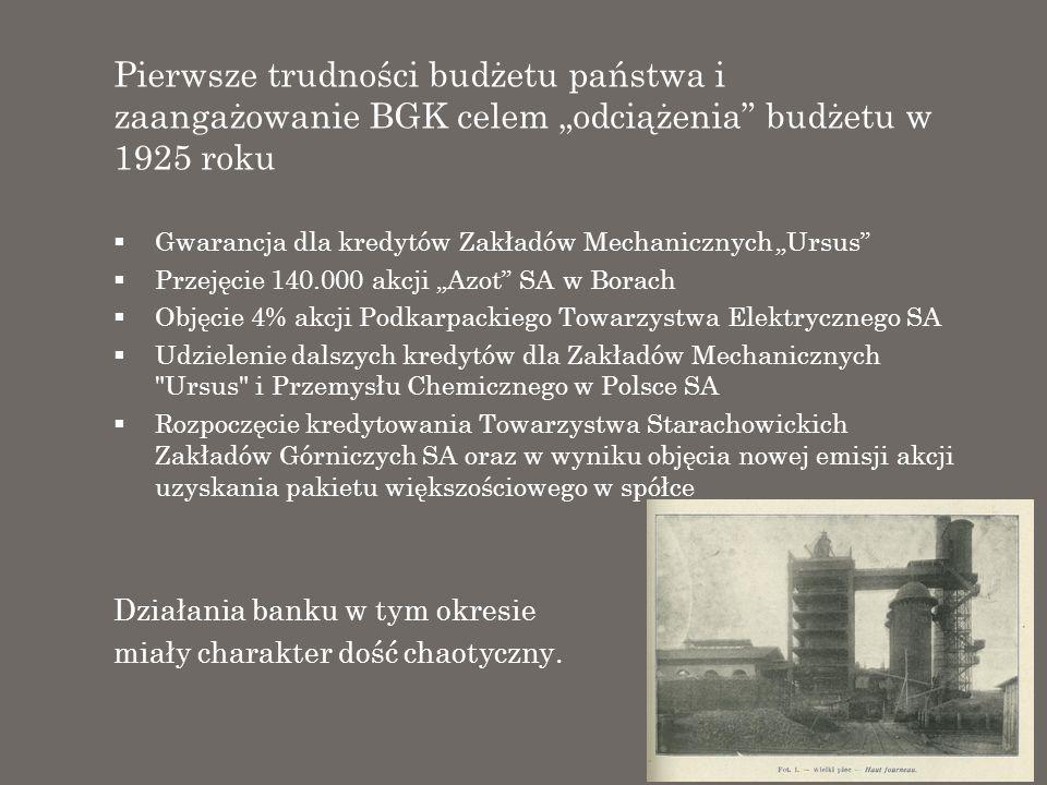 """Pierwsze trudności budżetu państwa i zaangażowanie BGK celem """"odciążenia budżetu w 1925 roku"""