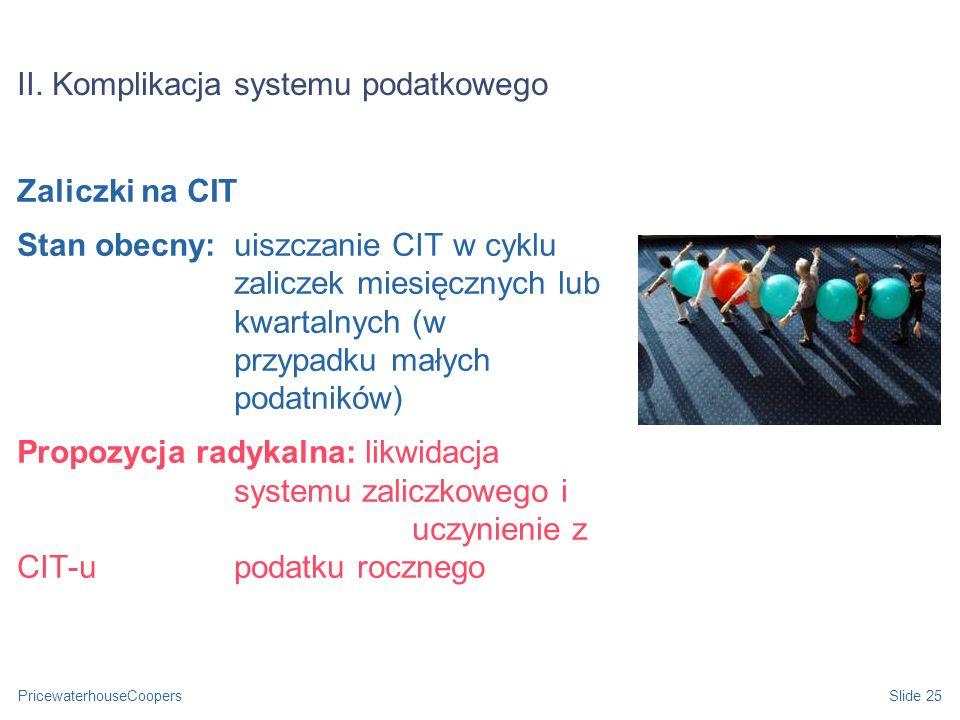 II. Komplikacja systemu podatkowego