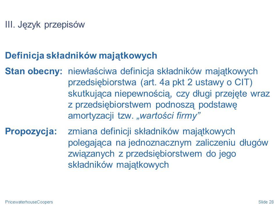 III. Język przepisów Definicja składników majątkowych.