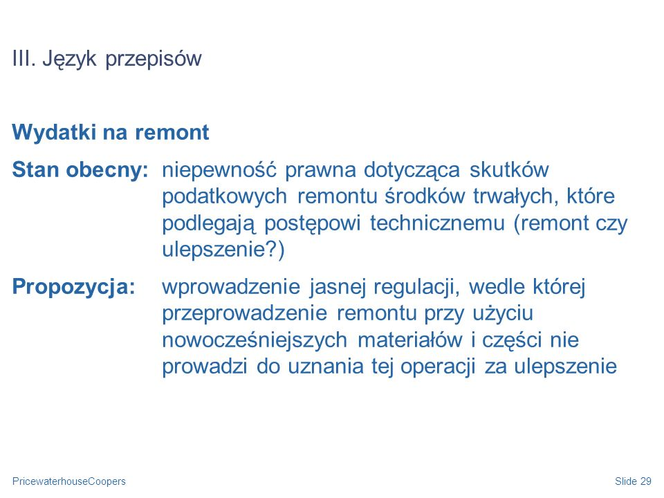 III. Język przepisów Wydatki na remont.