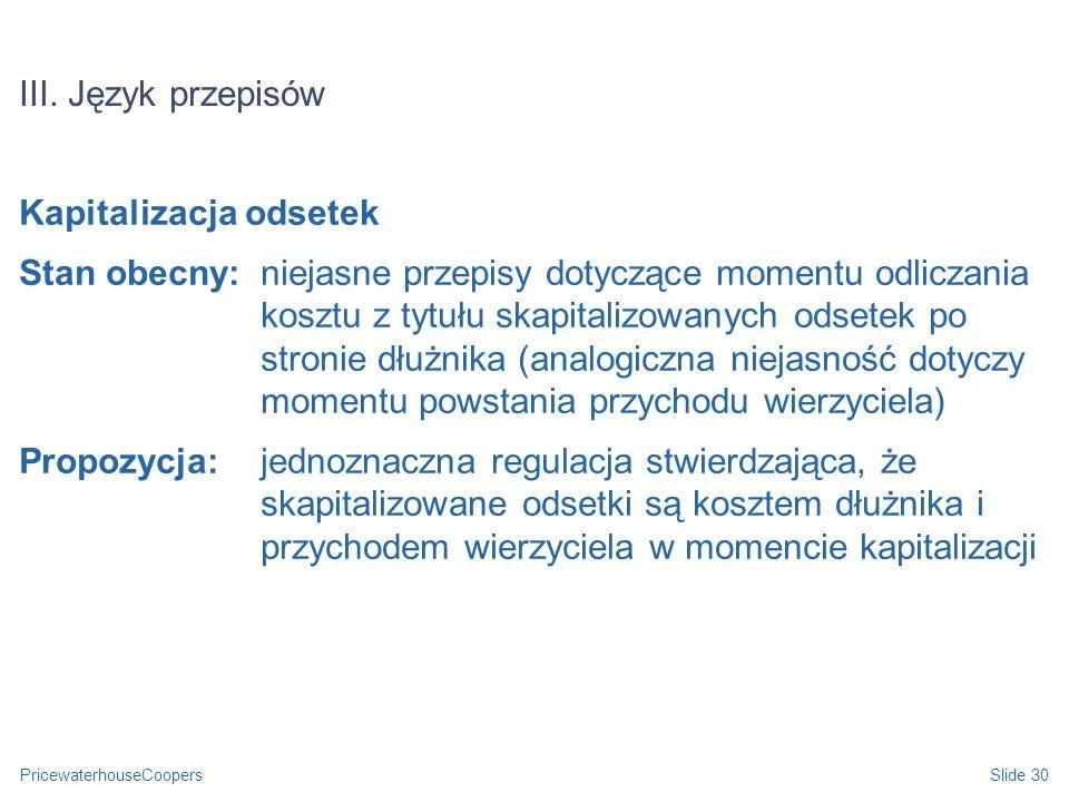 III. Język przepisów Kapitalizacja odsetek.