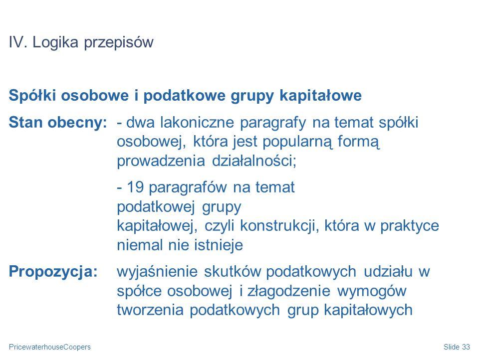IV. Logika przepisów Spółki osobowe i podatkowe grupy kapitałowe.