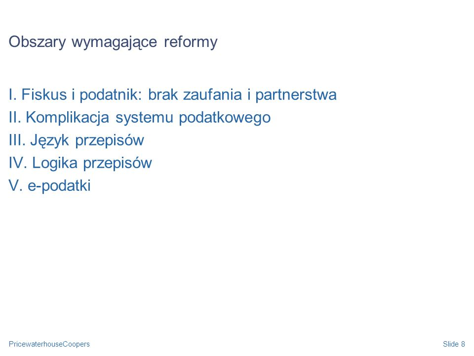 Obszary wymagające reformy