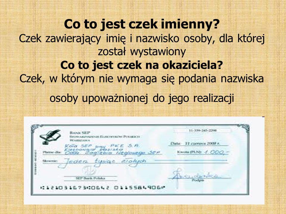 Co to jest czek imienny.