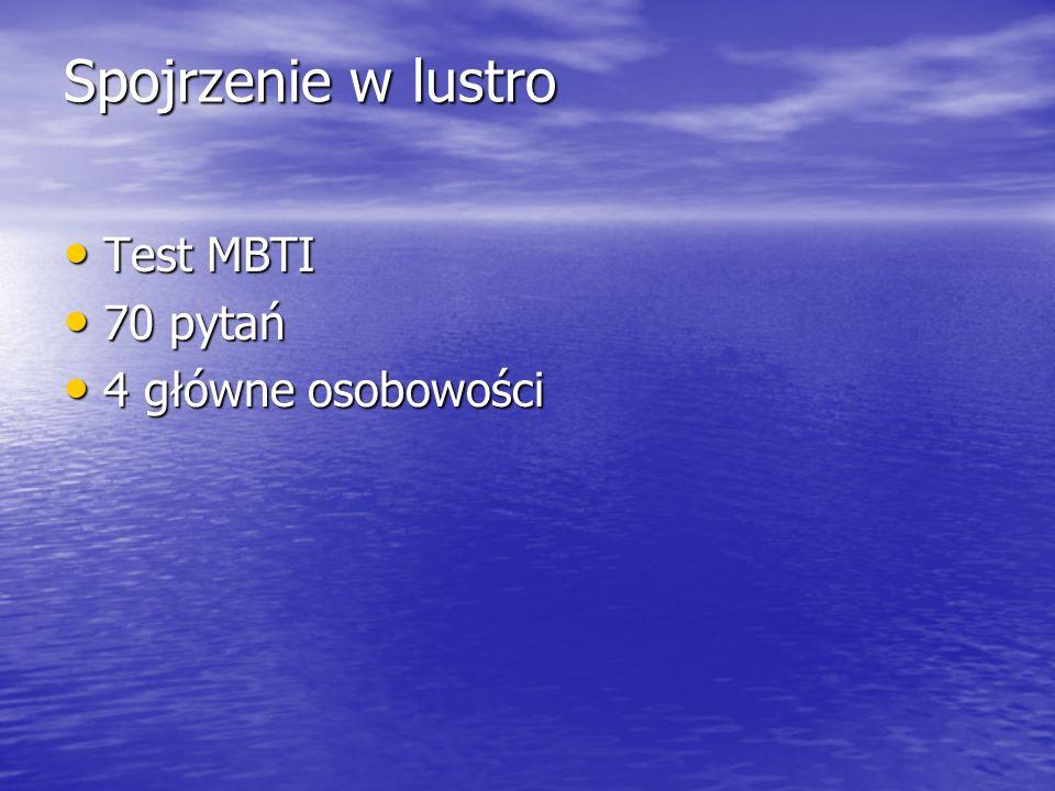 Spojrzenie w lustro Test MBTI 70 pytań 4 główne osobowości