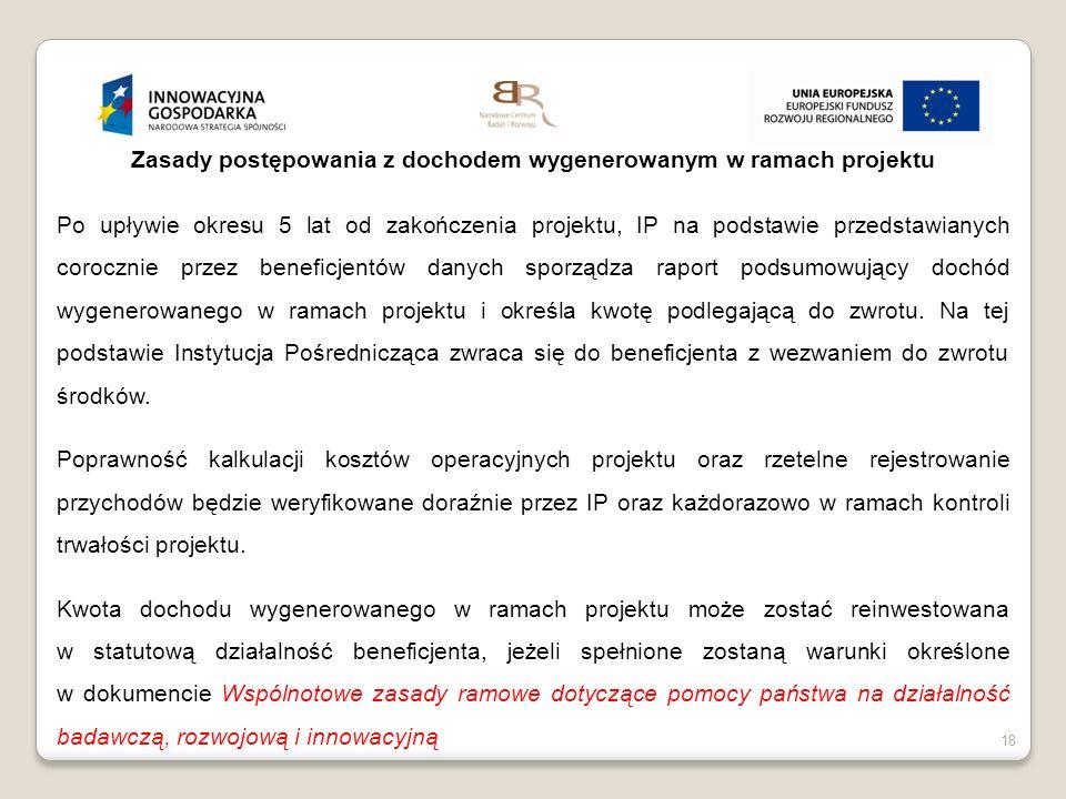 Zasady postępowania z dochodem wygenerowanym w ramach projektu